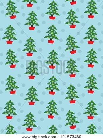 Christmas trees with decorations over solid blue background