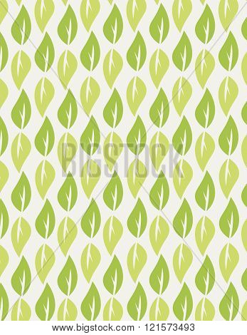 Green leaf repeating pattern over green background