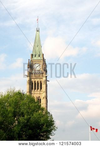Peace Tower of Canadian Parliament May spring in Ottawa Canada