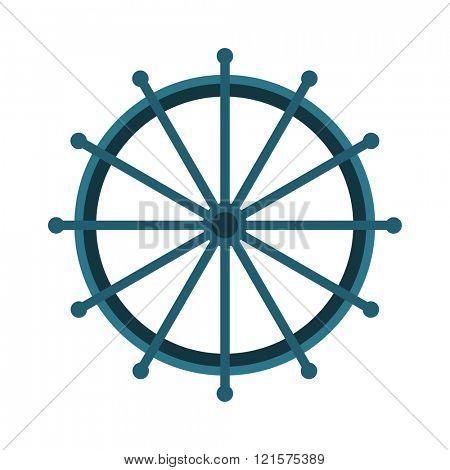 Yacht or sheep wheel rudder flat style vector illustration isolated on white background
