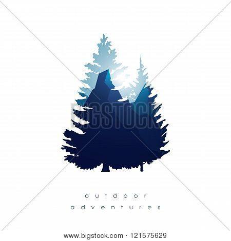 Trees, mountains in double exposure style vector background. Symbol of nature landscape and outdoor