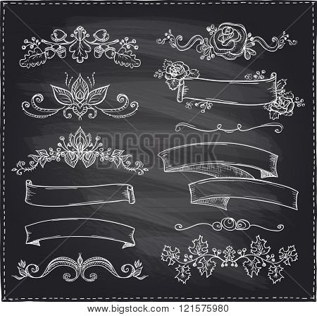 Chalk hand-drawn graphic line elements, love and wedding theme, vintage style ribbons, floral bunches and dividers on a chalkboard