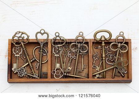 vintage key in wooden box
