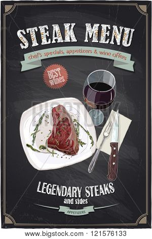 Steak menu chalkboard design with hand drawn illustration of a fillet mignon steak on a plate with glass of wine and cutlery