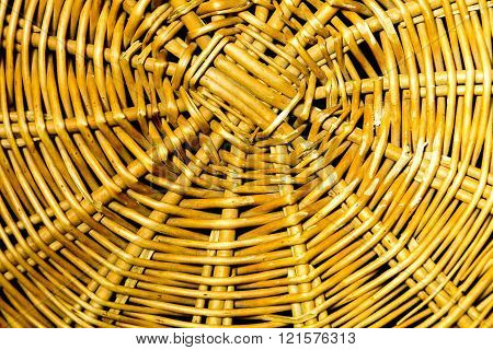 Close up of wicker basket texture. Natural wicker sticks from wicker basket - useful as background