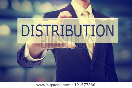 Business Man Holding Distribution