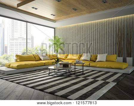Interior of modern  design room with yellow sofa 3D rendering