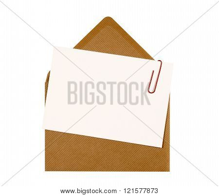 Blank Message Or Invitation Card With Paperclip And Brown Manila Envelope, Copy Space