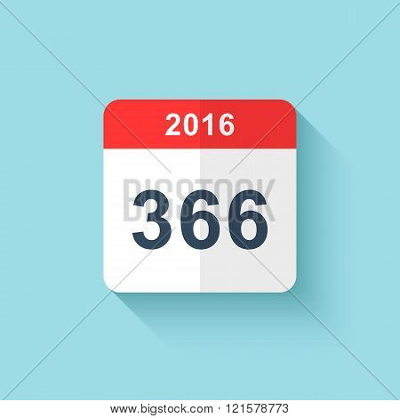 Calendar style flat leap year 366 days . Calendars Design 2016