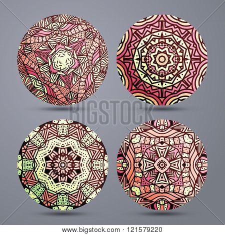 Set mandala pattern . Mandala stand hot. Zentangle in red