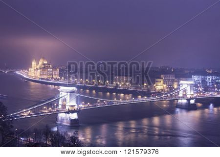 Budapest At Night, Hungary, View On The Chain Bridge and the Parliament