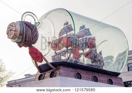 LONDON, UNITED KINGDOM - MARCH 11 2016: Ship in a giant bottle piece of art on the 11th of March 2016 in Greenwich, London.