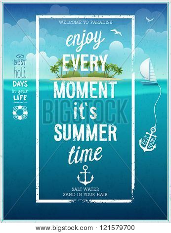 Summer time poster with sea background. Vector illustration.