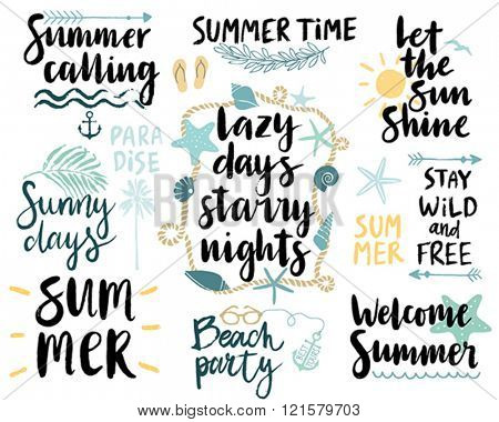 Summer Lettering Design Set - hand drawn Vector illustration.