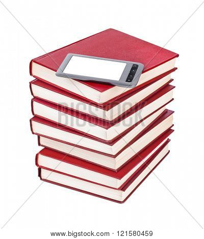E-book reader and books stack isolated on white background