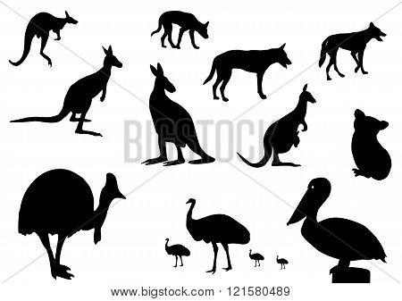 Australian Animals Silhouette