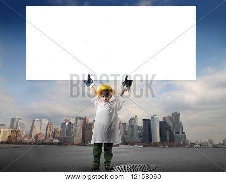 little worker with white bill board