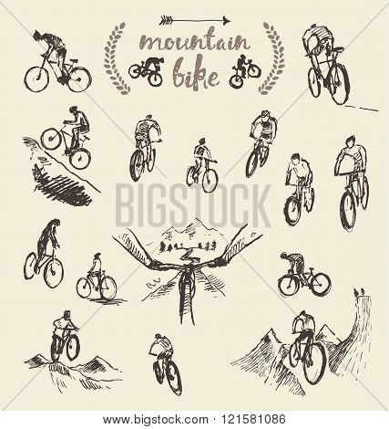 Set hand drawn mountain bike cyclist vector sketch