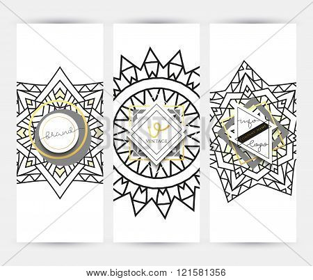 Mandala. Business card with ornament handmade in retro colors