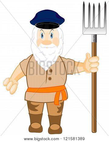 Man workman with pitchfork
