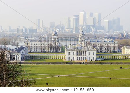 Queen's house and city of London seen from Greenwich Park in England.