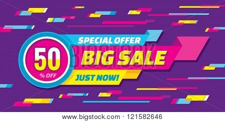 Big sale abstract vector origami horizontal banner - special offer 50% off. Sale vector banner.