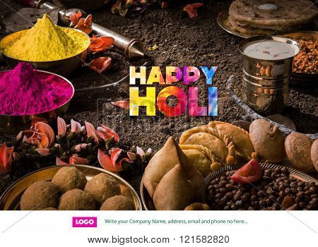 happy holi greeting card, holi wishes, greeting card of indian festival of colours called holi
