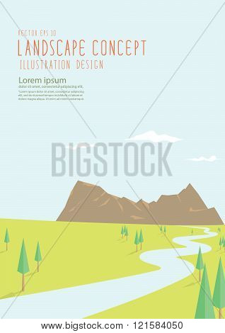Beautiful Natural Scenery Has A Long Road To The Big Mountains Flat Vector.