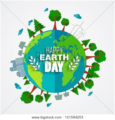 Earth Day background for environment symbols on clean earth