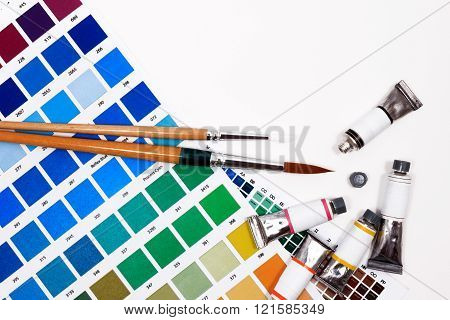 Color Chart Guide, Brushes And Paint Tube On White Background, Top View.