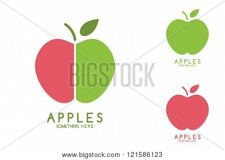Apples vector isolated. Apples icon. Apples logo. Apples with green leaf isolated. Nature Apples log