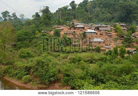 Phongsaly Laos - May 4, 2014 : Hmong Mountaineer Village near Phongsaly Province Northern Laos