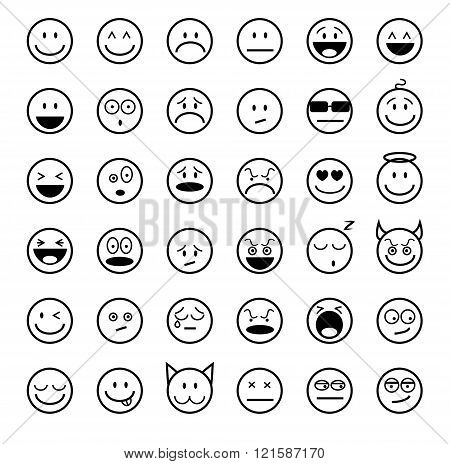 Emoticons outline set