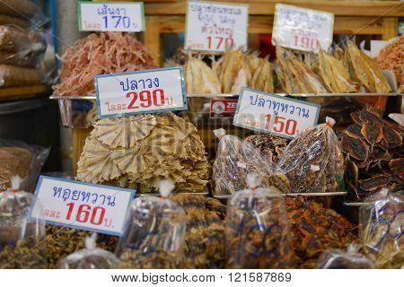 Samut Songkhram Thailand - June 21, 2014 : Dried Seafood at Samut Songkhram market