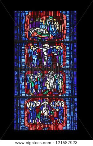 WASSERALFINGEN, GERMANY - MAY 05: Stained glass window in the parish church of St. Stephen in Wasseralfingen, Germany on May 05, 2014.