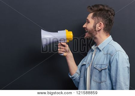 Young Man With Loudspeaker