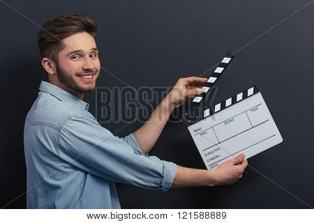 Handsome Guy With Clapperboard