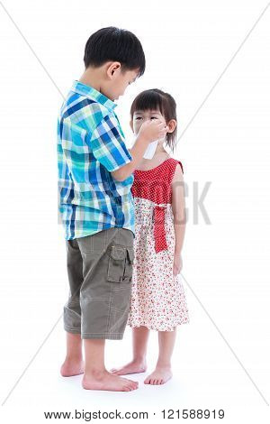 Full Body. Elder Brother Is Comforting His Crying Sister. Isolated On White Background. Conceptual A