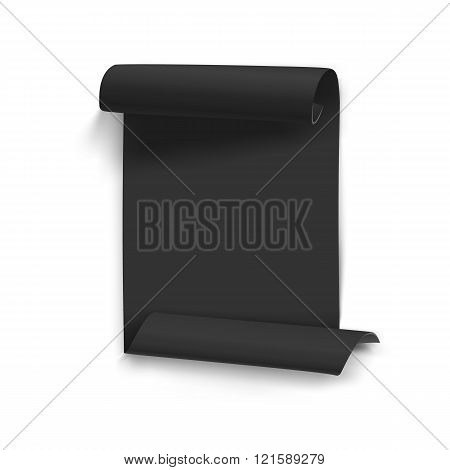 Vector Folded Black Paper Sheet Template. Realistic Vector EPS10