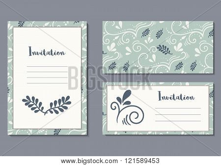 Invitation card with typography and botanical pattern.Wedding or birthday celebrations. Template