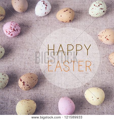 Easter pastel speckled eggs, selective copyspace background, toning