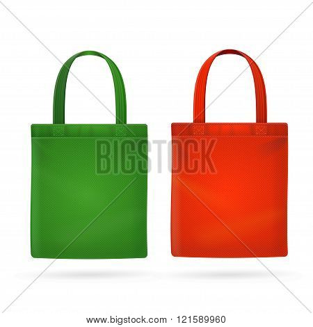Color Fabric Cloth Bag Tote. Vector