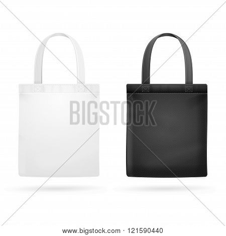 White and Black Fabric Cloth Bag Tote. Vector