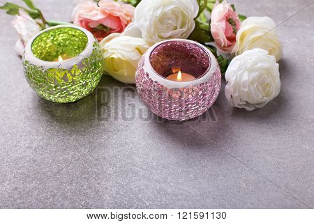 Border From Flowers   And Candles In Bright Lanterns On  Grey Slate  Background.