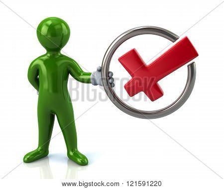 Green Man Character Holding Check Mark
