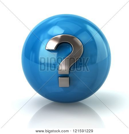 Blue Sphere With The Silver Question Mark