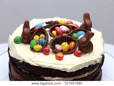 Triple Chocolate Nutella Easter Layer Cake, Easter Decoration