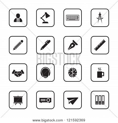 Black Flat Business And Office Icon Set With Rounded Rectangle Frame