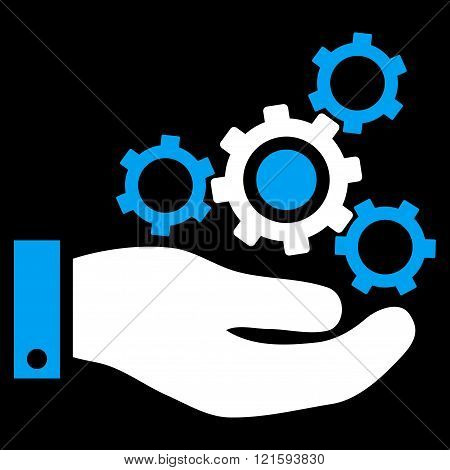 Mechanics Service vector icon. Mechanics Service icon symbol. Mechanics Service icon image. Mechanics Service icon picture. Mechanics Service pictogram. Flat blue and white mechanics service icon.