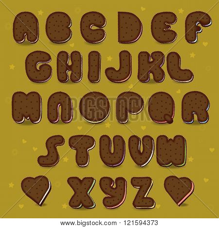 Chocolate Cookies Vector Alphabet. Vintage Style